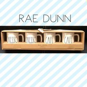 NIB 4pc Rae Dunn Espresso mug set